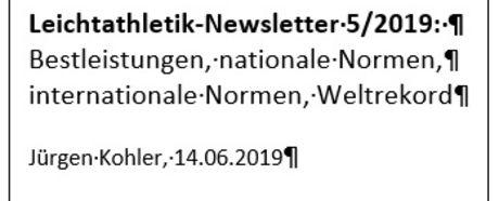 Newsletter Juni 2019: Normen und ein Weltrekord